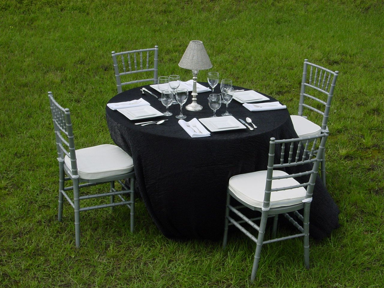 Chair Cover Rental Tampa Desk Armless Black Shimmer Satin With Silver Chiavari Chairs Crushed
