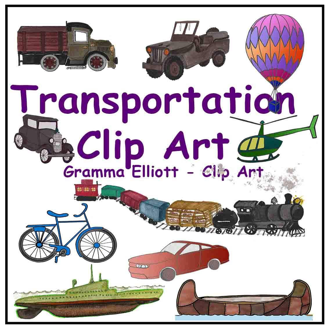 Transportation Clip Art Train Boat Canoe Helicopter Bus