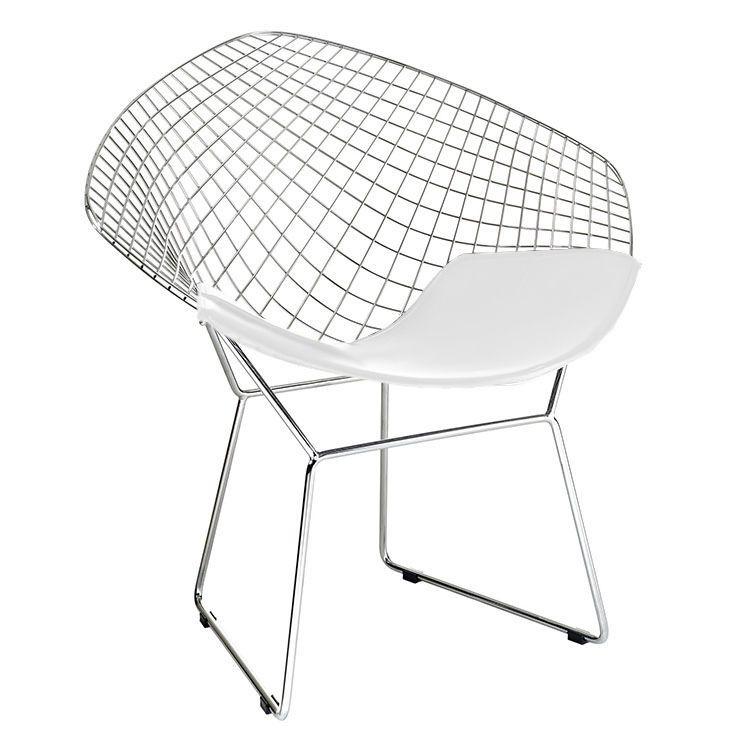 Bertoia Diamond Chair. Chrome Bertoia Diamond Chair. White Pad.
