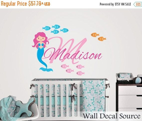 LAST CHANCE SALE Fish Wall Decal Custom Name By WallDecalSource - Custom vinyl wall decals for bathroom