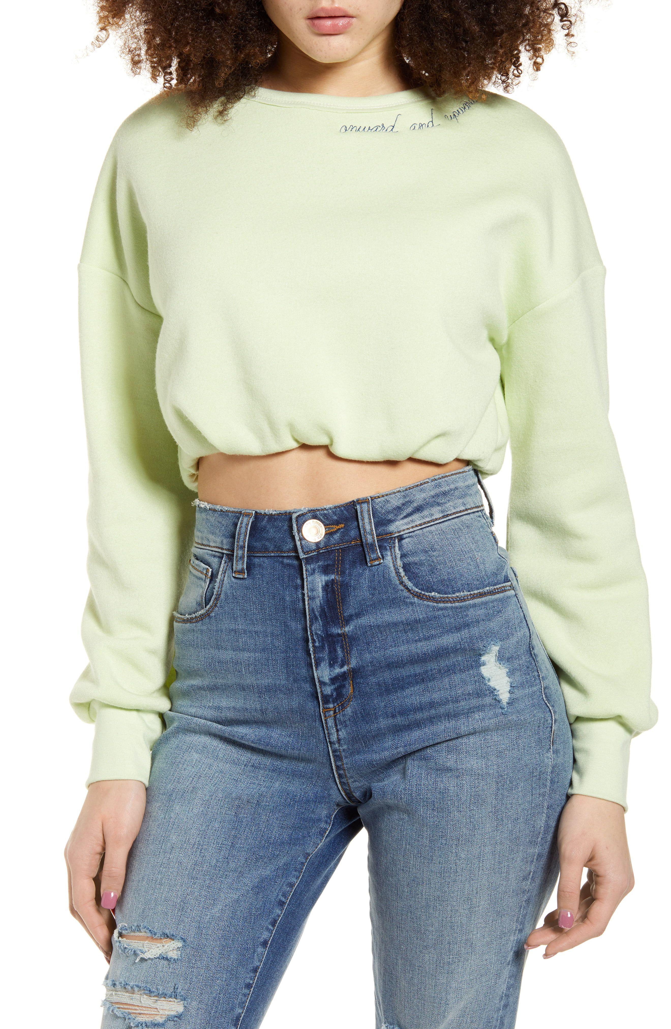 Photo of Women's Pst By Project Social T Onward Upward Crop Sweatshirt, Size Large – Green