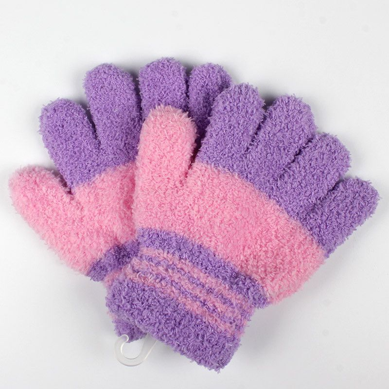 Baby Winter Thicken Warm Gloves Children Coral Fleece Knitted Mittens Kids Boys Girls Soft Colorful Striped Full Finger Gloves