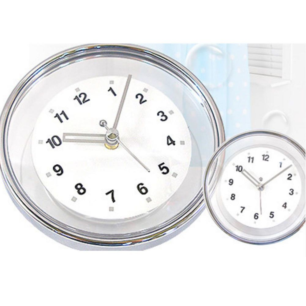 Chrome Bathroom Wall Clock Suction Watch Kitchen Shower Window