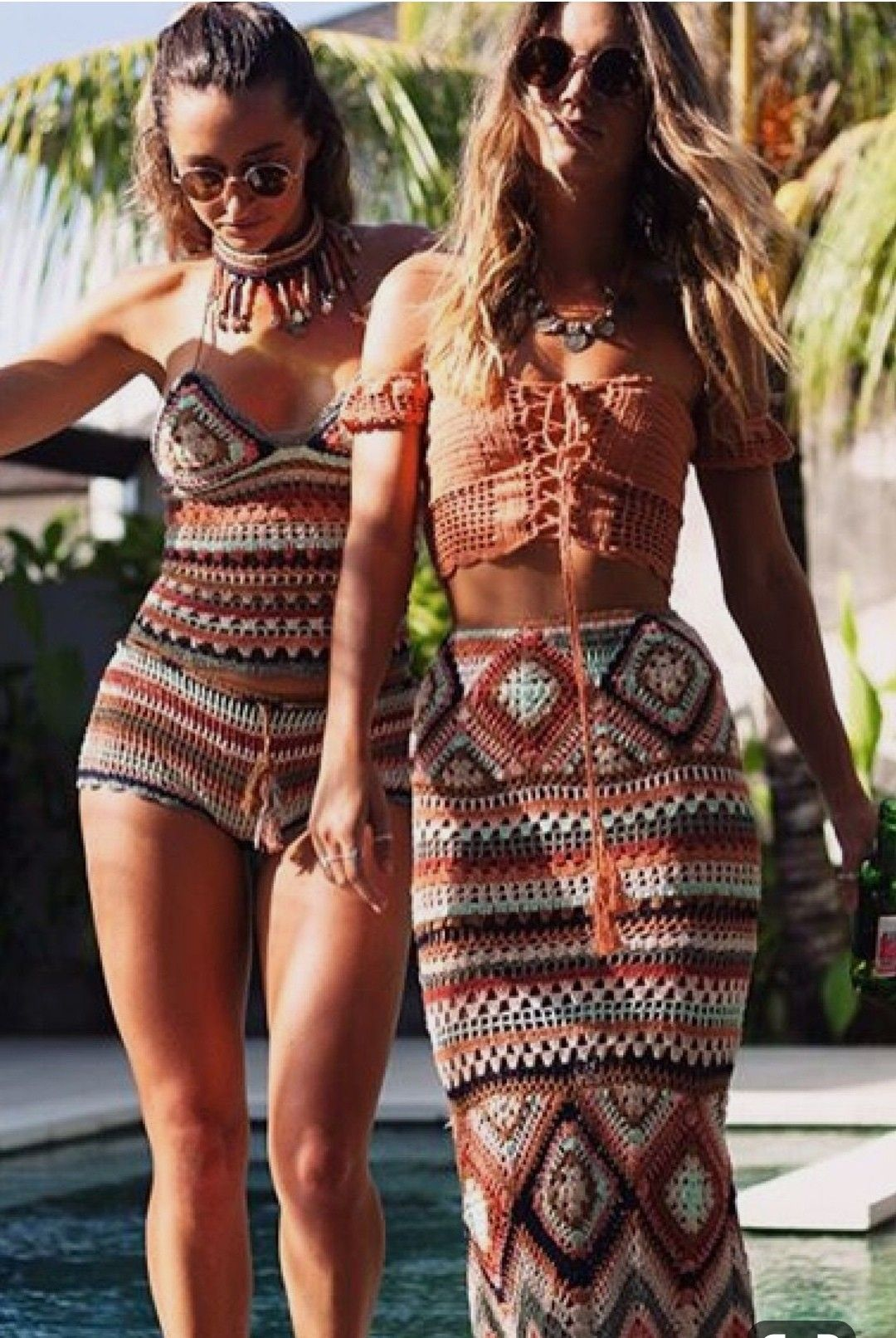 White /& black henna boho halter summer top that goes with everything Bohemian hippie style ties in back