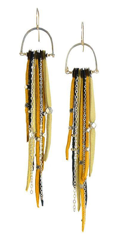 TeCuero Deerskin Leather Fringe Earrings with by sonialub on Etsy