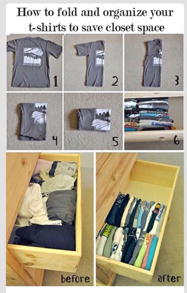 How To Fold Your T Shirts For More Closet Space