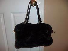 Faux Fur Mink Handbag Dark Brown Metro 7