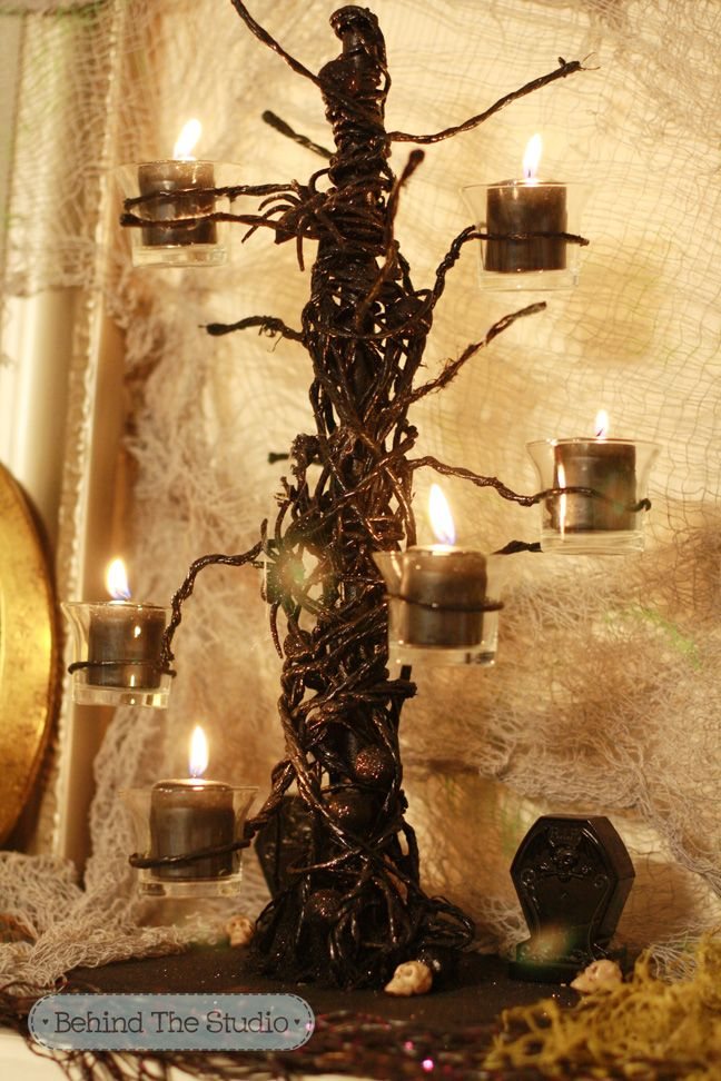 Making a DIY Halloween Candelabra is super easy and cheap to make! Halloween  is hands