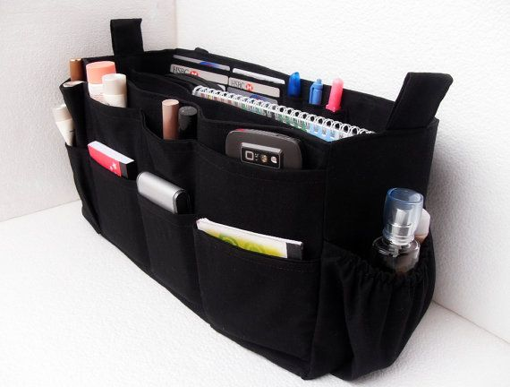 Extra Large Size Purse Organizer With Laptop Padded Case Bag Insert In Black Fabric On Etsy 51 50