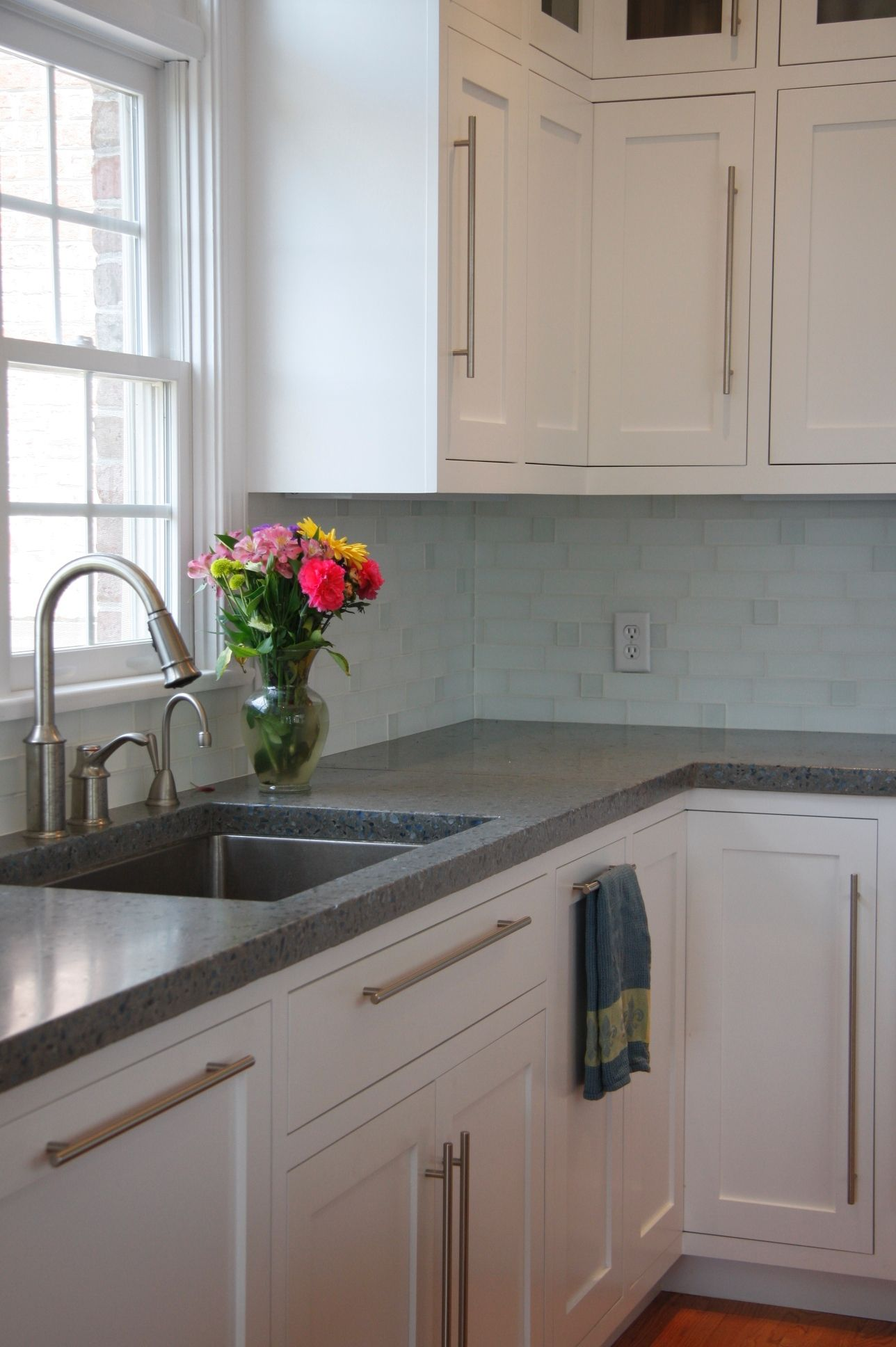Concrete Counters White Shaker Cabinets Stainless Hardware Sink And Faucet White Shaker Kitchen Shaker Kitchen Cabinets White Shaker Kitchen Cabinets