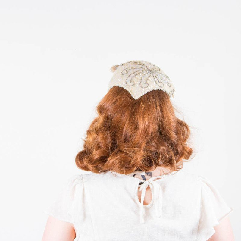 Vintage 1950s Beaded & Sequined Wedding Bridal Cocktail Hat by Hess Brothers