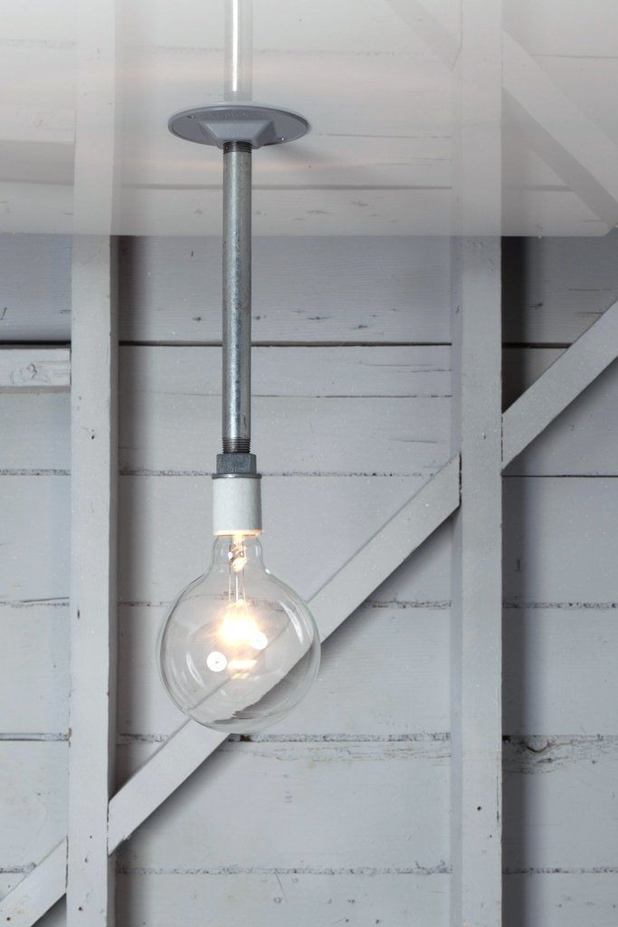 Pendant pipe light bare bulb lamp pipes bulbs and for Pipe ceiling lighting