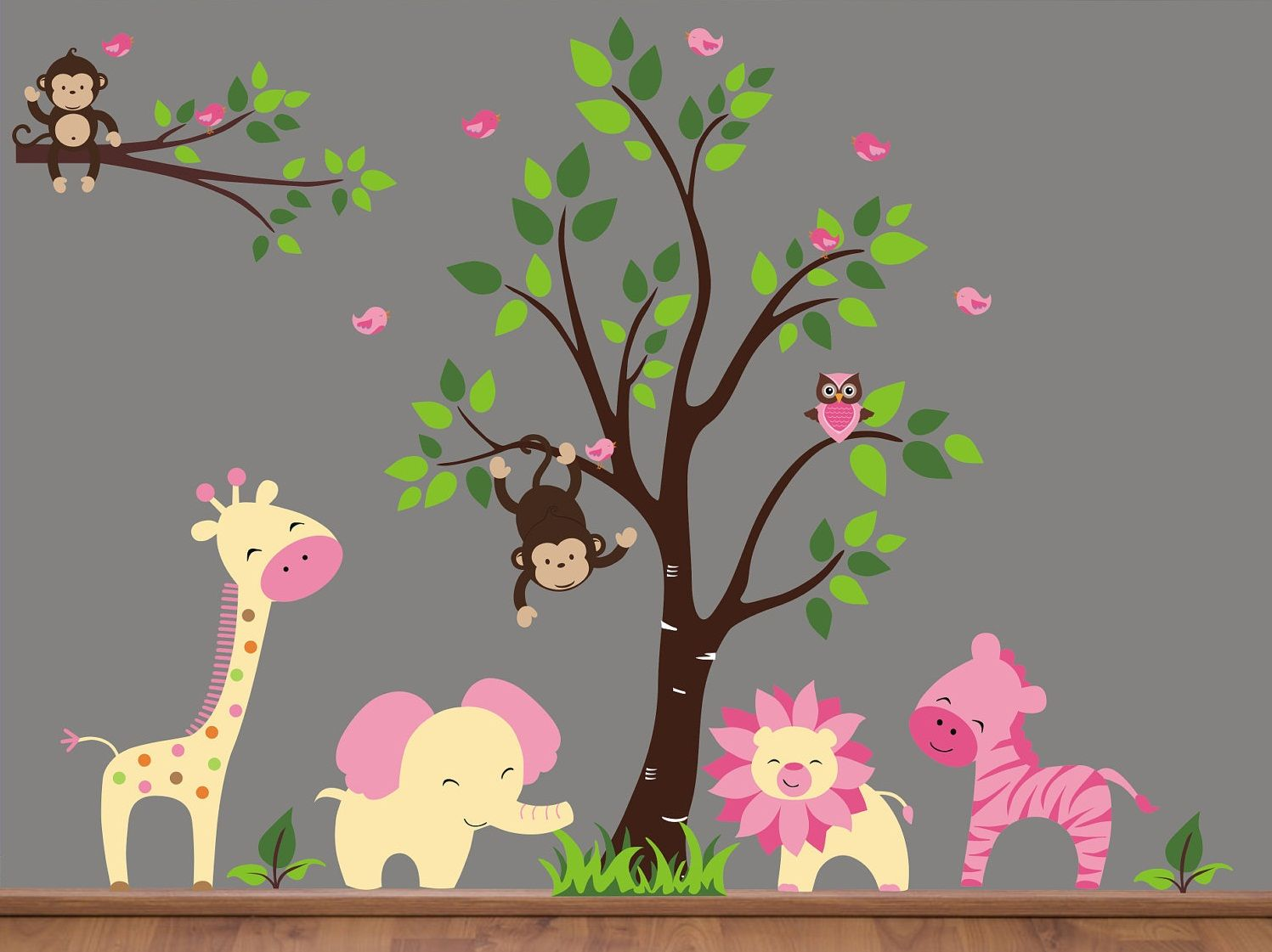jungle animals wall decals jungle animal wall decals with tree