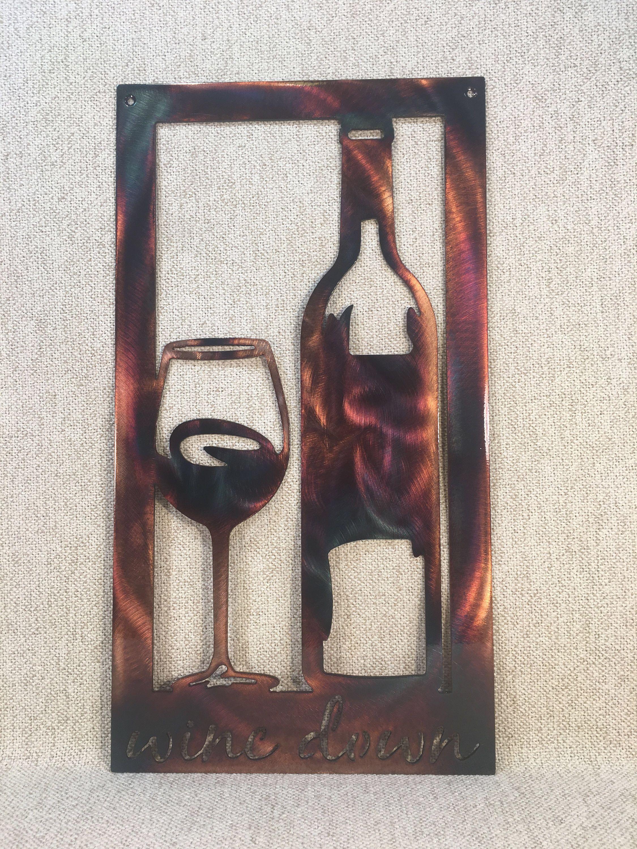 Wine Down Bottle Glass Metal Wall Art Etsy In 2020 Metal Wall Art Wine Decor Wine Down
