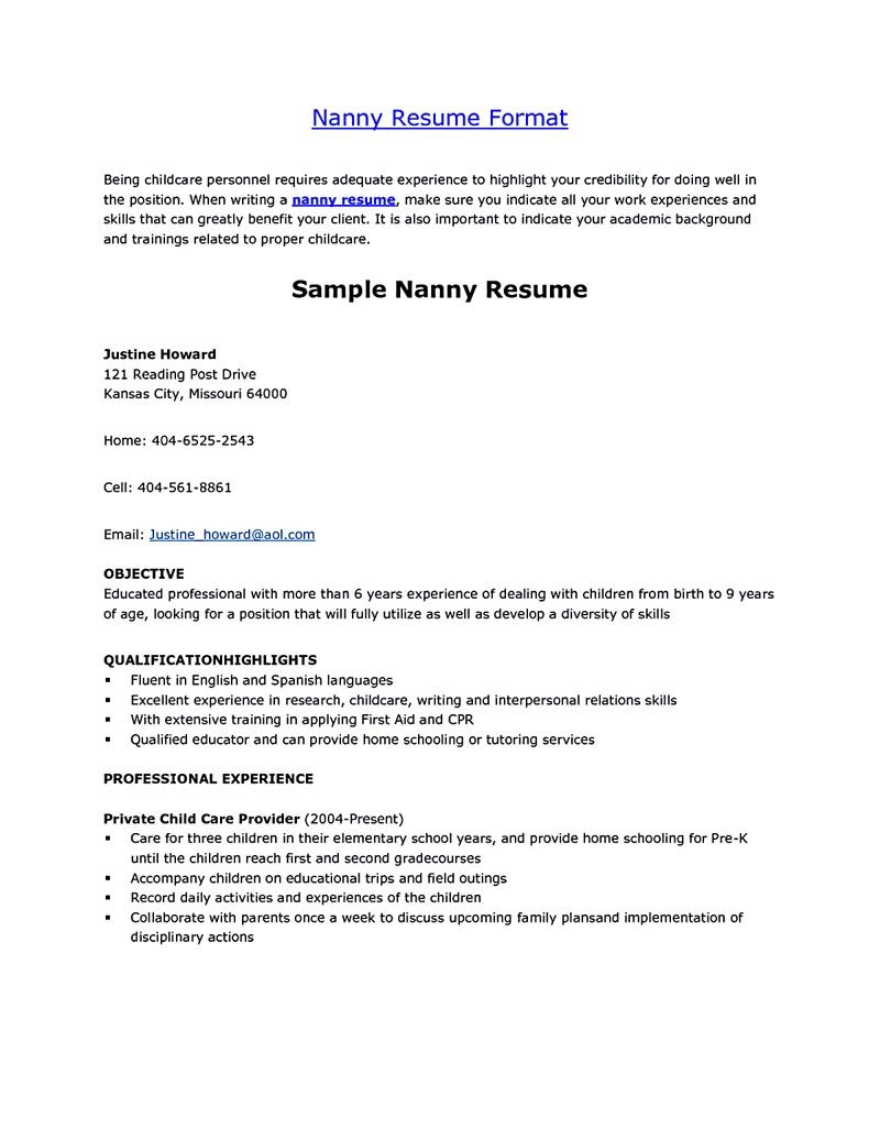 infant nanny resume