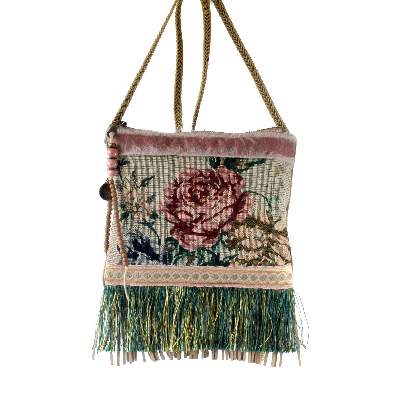 Mini schoudertasje vintage stijl klein tasje oud roze