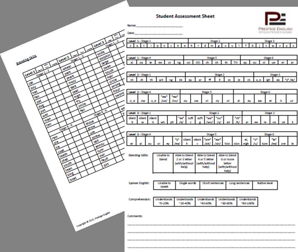 Student Assessment Sheet - Phonics / Reading / Blending (Jolly ...