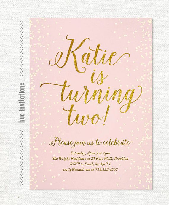 2nd Birthday Invitation For Girl Blush Pink Gold Glitter Girls Party Invite Chic Confetti Printable Digital S107