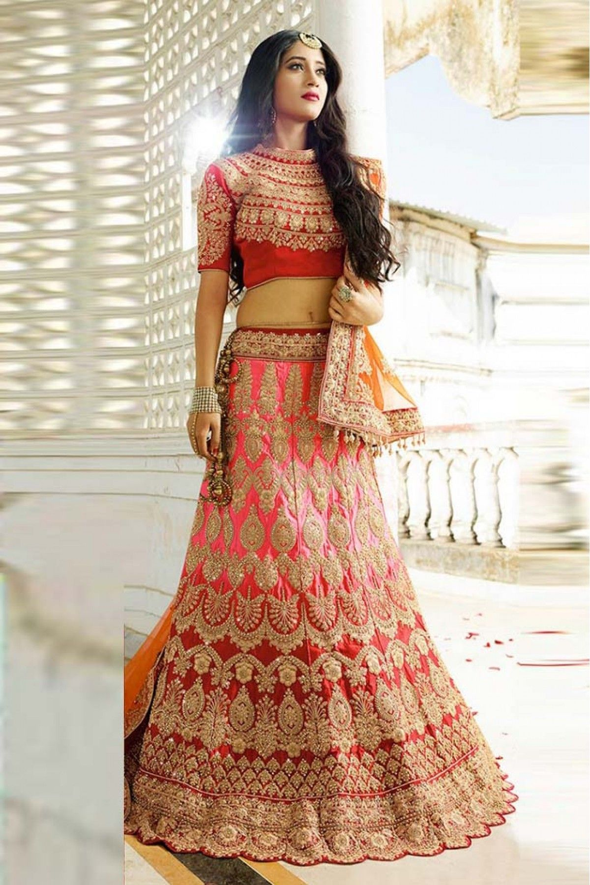 Red lace wedding dress october 2018 Silk Lehenga Choli In Pink And Red Colour in   FS  Pinterest