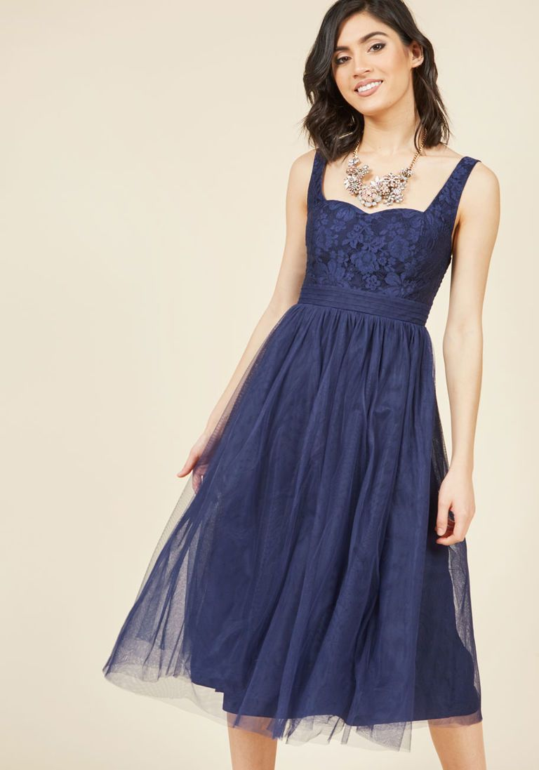 Fit and flare dress wedding  Graceful Greatness Fit and Flare Dress in Navy  ModCloth Navy and