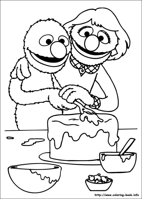 Grover and his mom putting icing on a cake sesame for Grover sesame street coloring pages