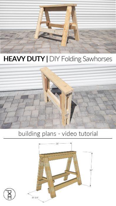 Photo of HEAVY DUTY DIY Folding Sawhorses | Video tutorial + Plans