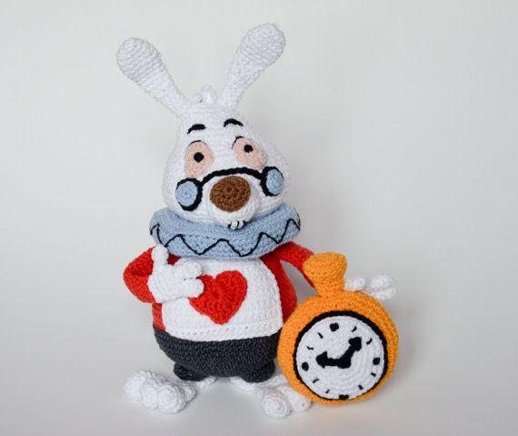 Crochet PATTERN - White Rabbit, Alice in Wonderland Lewis Carroll, rabbit hole, Disney, pattern by Krawka