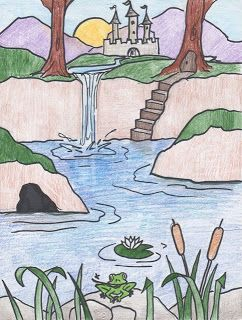 Creator S Joy How To Draw A Waterfall Lesson On Foreground And Background Nature Drawing For Kids Landscape Drawing For Kids Easy Drawings
