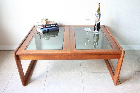 danish teak smoked glass coffee table