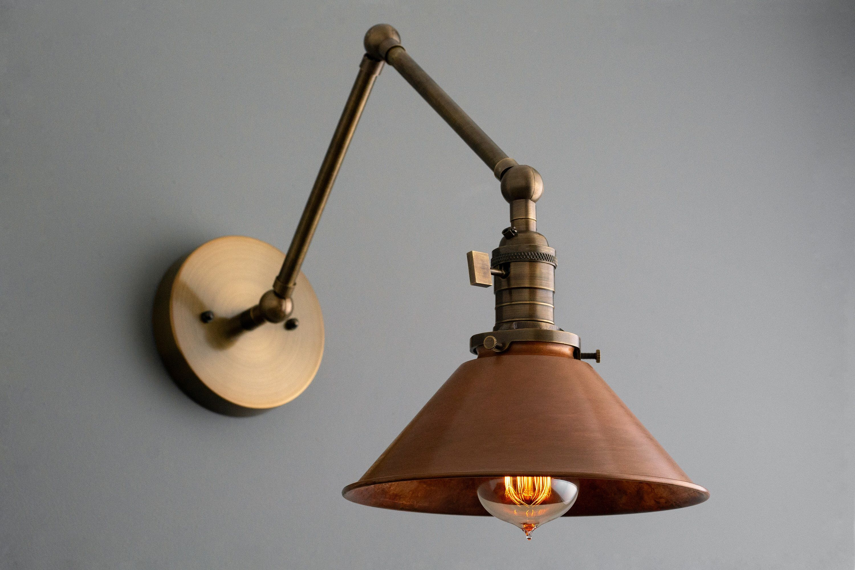Articulating Copper Wall Sconce Rustic Lighting Swivel Wall Light Industrial Light Antique Brass Aged Copper Model No 6668 Copper Wall Sconce Rustic Wall Sconces Copper Wall Light Rustic wall light fixtures