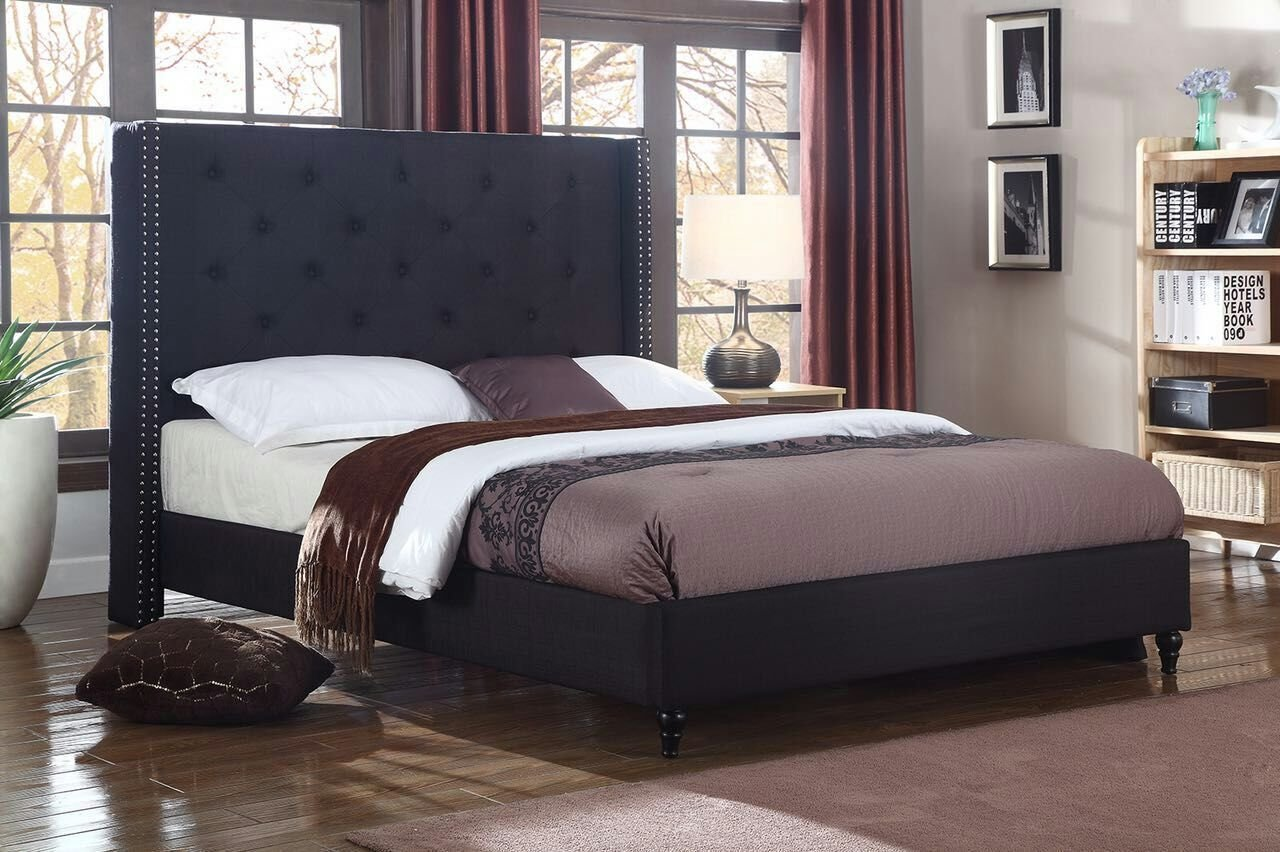 Home Life Premiere Classics Cloth Brown Linen 51 Tall Headboard Platform Bed with Slats Full Complete Bed 5 Year Warranty Included 007