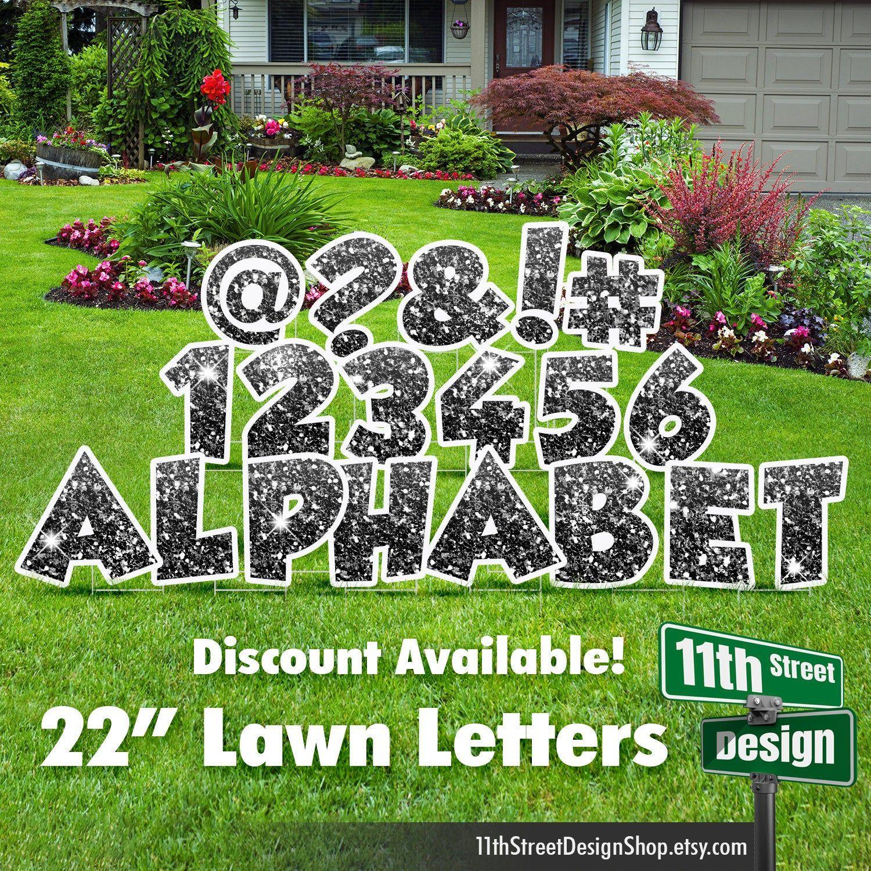 22 black glitter lawn letter yard signs 22 chunky etsy