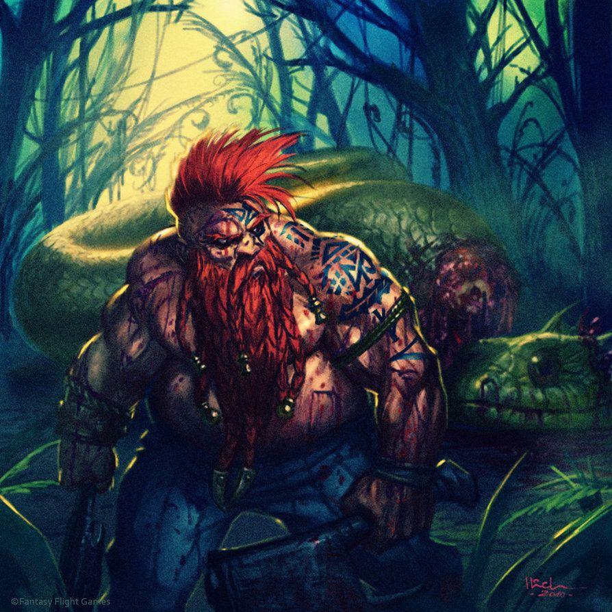 Male Dwarf barbarian (Dwarf Serpent Slayer by Ilich Henriquez by Ilacha)