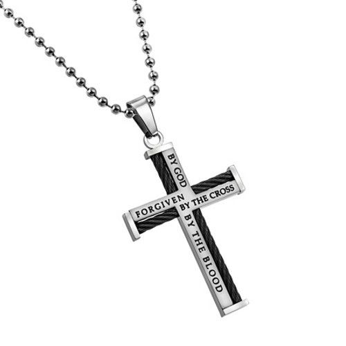 Christian  Godly Men can show their Faith with this Manly looking Cable  Cross Pendant - Bible Verse (Front)  FORGIVEN BY GOD 1696d0ebc6e1