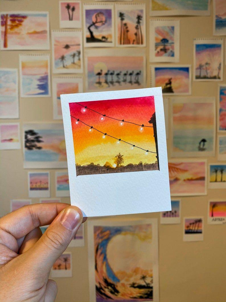 Watercolour print | watercolor print orange | mini