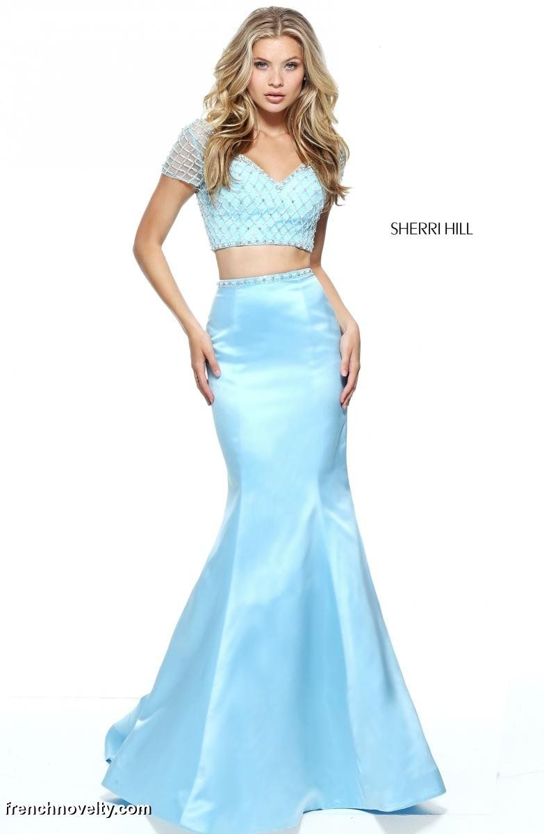 Sherri Hill 51196 is a 2-piece prom dress with a short sleeved ...