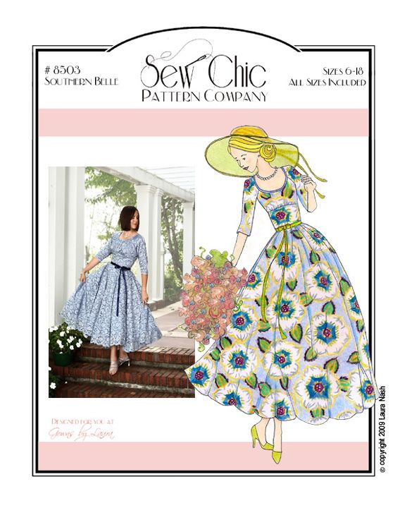 Southern Belle Dress Sewing Pattern by Sew Chic Pattern Company ...