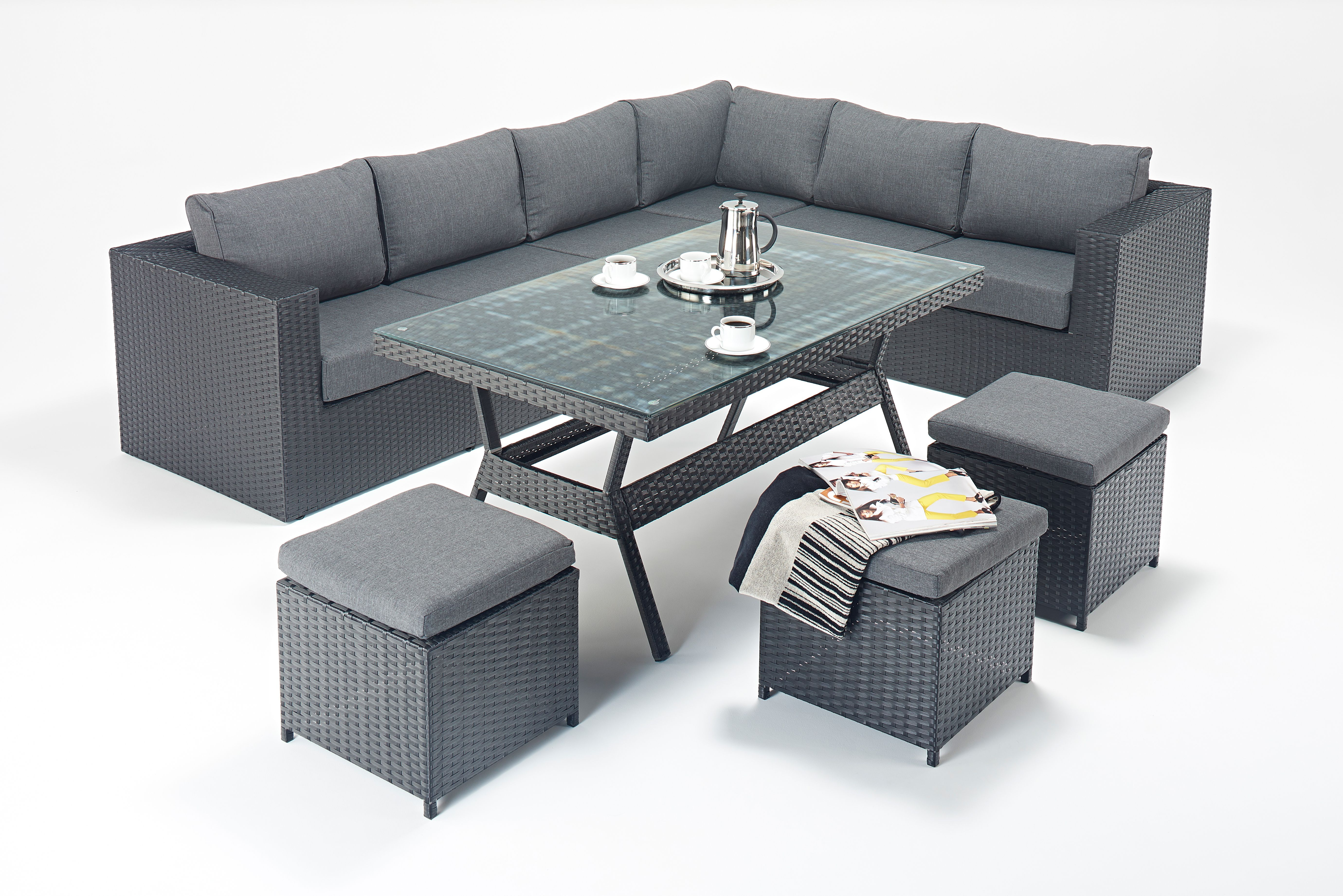 Black flat weave polyrattan with charcoal cushions