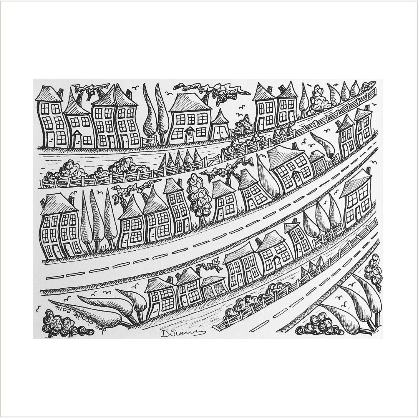 Houses on a Road Original Illustration, Black and White Cartoon ...