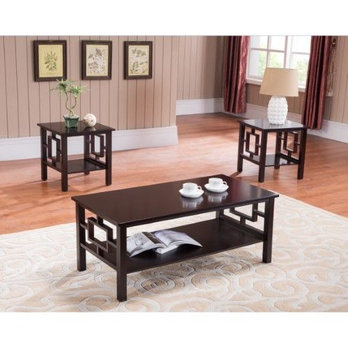 Best 3 Pc Kings Brand Cherry Red Finish Wood Coffee Table 640 x 480