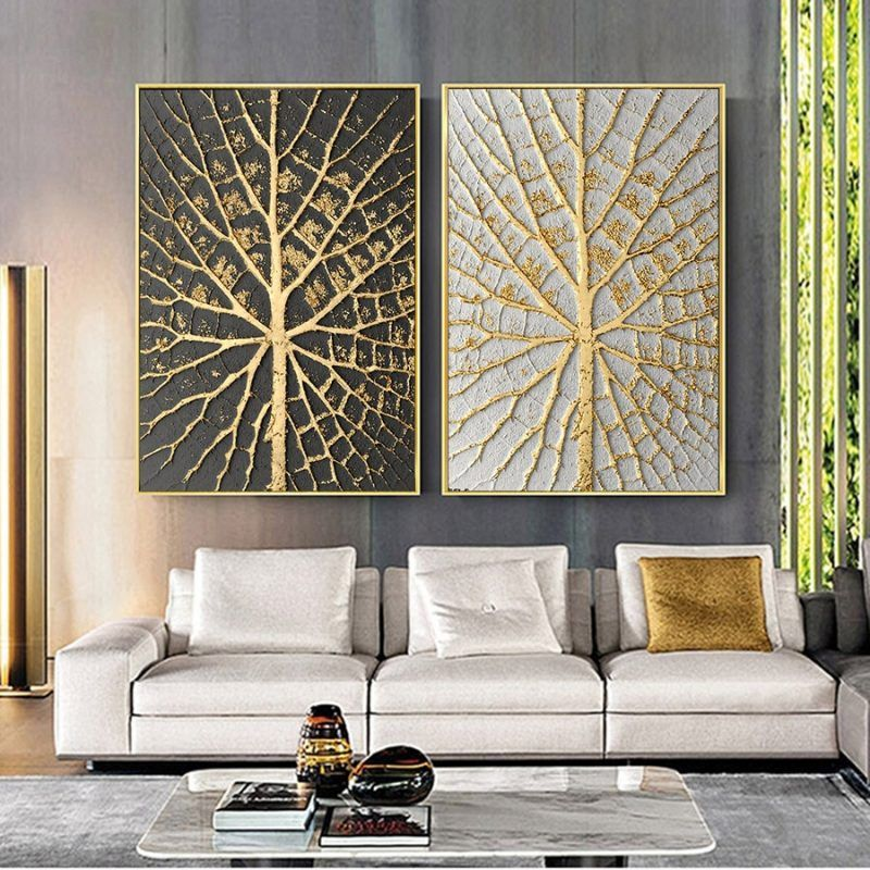 Vintage Posters Gold Leaf Painting Prints Abstract Wall Art Nordic Plants Canvas Oil Large Picture For Living Room Kitchen Decor Canvas Wall Art Living Room Wall Art Decor Living Room Abstract