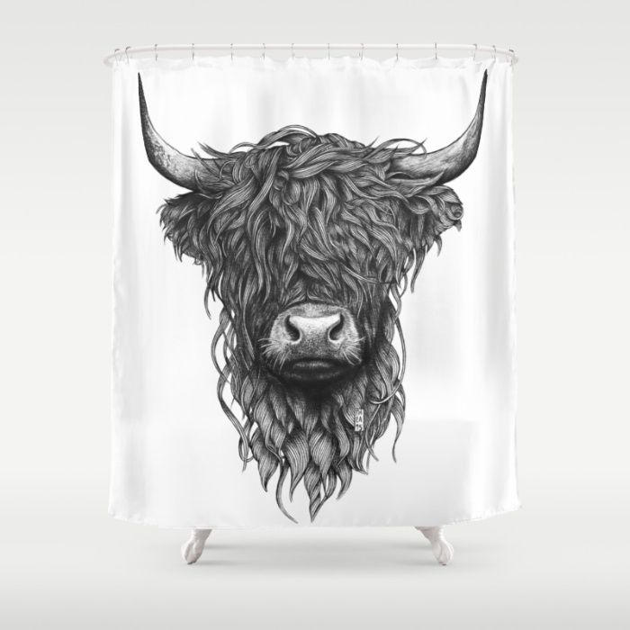 Highland Cattle Shower Curtain Animal Drawings Highland Cattle