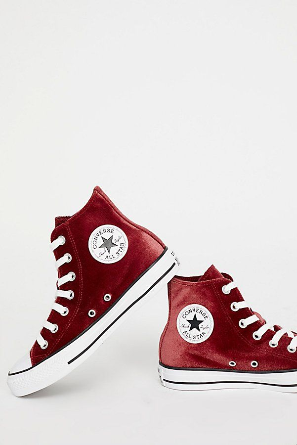 b01bfb4c198c Slide View 3  Velvet High Top Sneakers · Chuck TaylorsHigh Top SneakersHigh Top  ConverseHigh TopsFree PeopleFlyersVelvetRufflesLeaflets