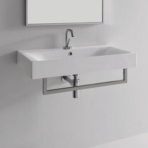 Cento Ceramic 28 Wall Mount Bathroom Sink With Overflow Trisha