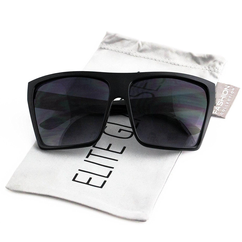 afcedf616e Elite Oversized Retro Wayfarer Aviator Flat Top Square Vintage Men Women  Sunglasses - Matte Black  Gold Arm - CJ17AYTIZE8 - Women s Sunglasses