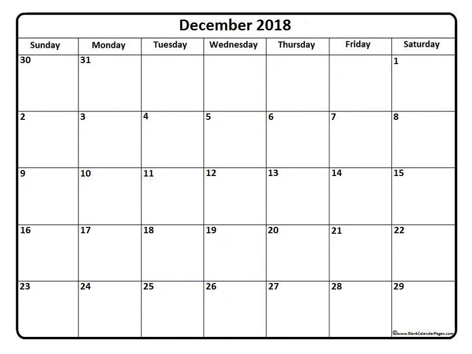 blank calendar december 2018 printable