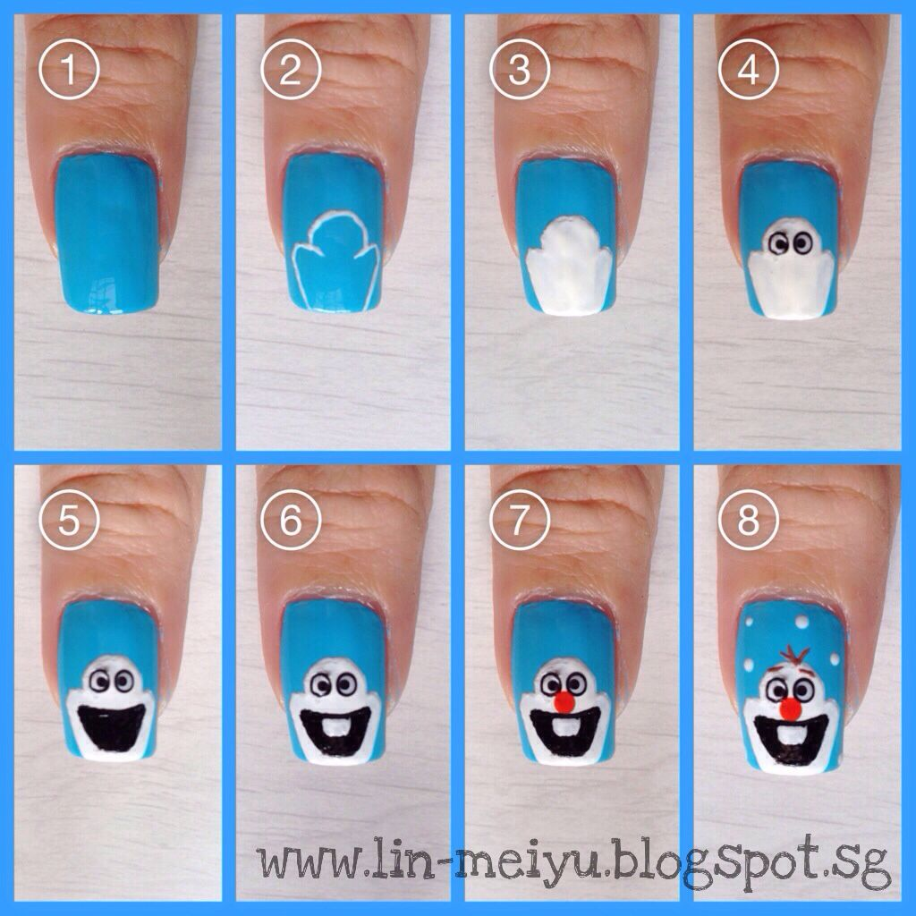 Olaf nail art pictorial nails pinterest olaf nails olaf and