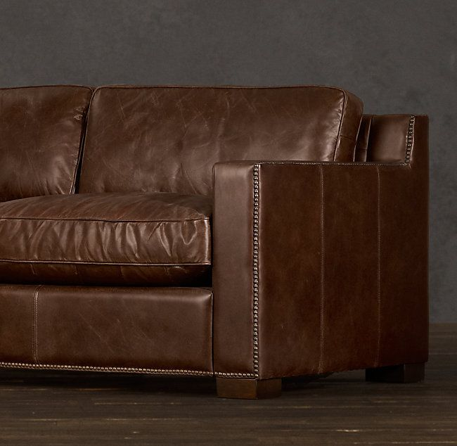 Collins Leather Sofa With Nailheads Brown Leather Sofa White Dining Room Furniture Top Grain Leather Sofa