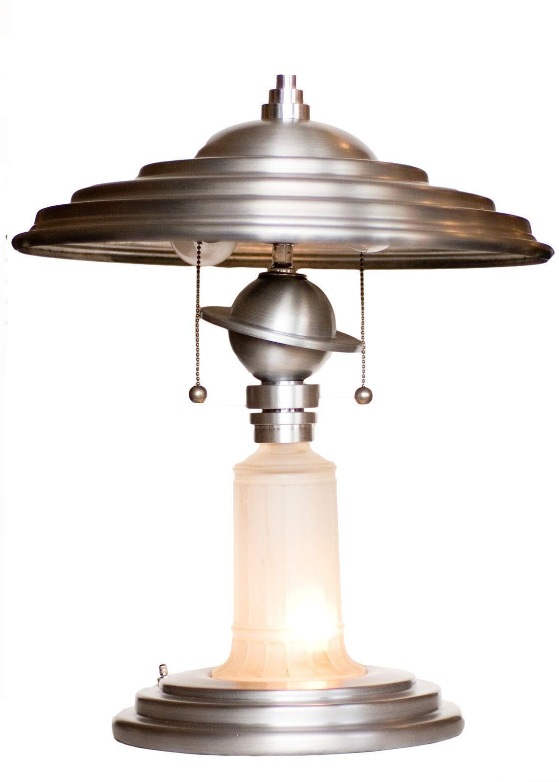 Art Deco Aluminum Saturn Table Lamp W Light Up Vianne Glass Base Re Edition