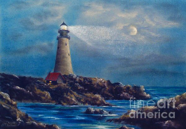 Lighthouse Teresa Ascone Oil Pastel Landscape Ascone